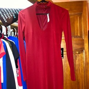 Red Scooped Neck Dress